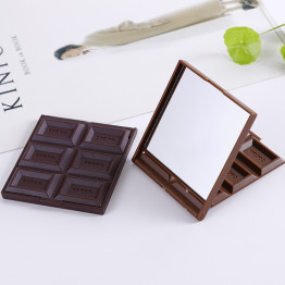 1PCS New Foldable Cute Mini Makeup Mirror Chocolate Cookie Shaped Square Pocket Mirror Glass+Plastic Women Girl Lovely