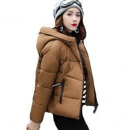2017 Winter Jacket Women Cotton Short Jackets New Padded  Hooded Warm Coat Female Autumn Outerwear Korean Style solid color