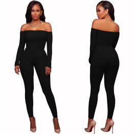 2018 Autumn New Fashion Sexy Romper Playsuit Slash Neck Long Sleeve Off Shoulder Bodycon Slim Long Pant Rompers Womens Jumpsuit