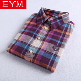 2018 Autumn Winter New Women's Flannel Plaid Shirt 100% Cotton Casual Style Blouses Long Sleeve Shirt Female Blusas Office Tops