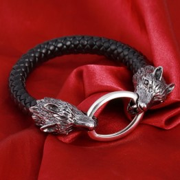 2018 New Arrival Men Stainless Steel Leather Bracelets Men Jewelry Male Wolf Head Charms Bracelets Bangles Wristband pulseira