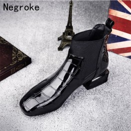 2019 Chic Women Boots Shiny PU Leather Autumn Winter Shoes Woman Spuare Toe Block Heels Ankle Boots Female Botas Zapatos Mujer