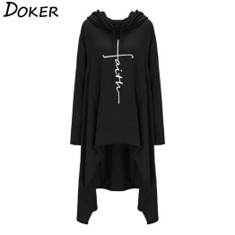 2019 New Faith Letter Embroidered Long Hoodies Women Long Sleeve Irregular Hem Pocket Sweatshirt Female Plus Size Pullover Tops