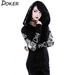 5XL Gothic Punk Print Hoodies Sweatshirts Women Long Sleeve Black Jacket Zipper Coat Autumn Winter Female Casual Hooded Tops