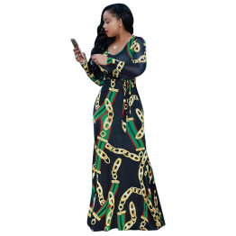 Africa Clothing Trendy Gold Chain Printed Long Sleeve Belted Maxi Dress Women Autumn Bodycon Robe Long Party Plus Size S-XXXL