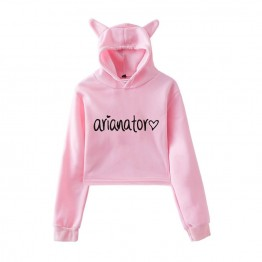 Ariana Grande Dangerous Woman Crop Tops Girl Kawaii Hooded Women 2019 Harajuku Hip Hop Hoodies Sweatshirts Print Plus Size