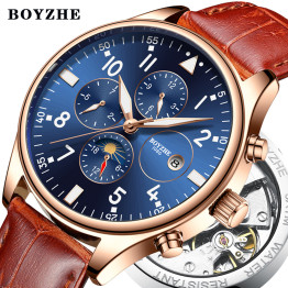 BOYZHE Men Automatic Mechanical Watch 2018 Fashion Luxury Waterproof Time Calendar Brand Casual Business Leather Sports Watches
