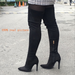 Brand New women's shoes woman Plus Large big size 32-48 over the knee boots thin high heel sexy Party Boots botas de mujer 2019