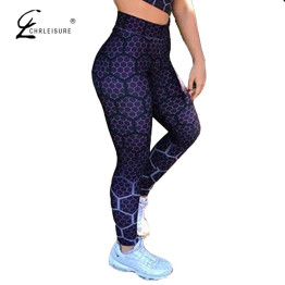 CHRLEISURE Women Printed Fitness Leggings High Waist Honeycomb Digital Printing Workout Activewear Jeggings Trousers Women