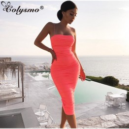 Colysmo 2 Layers Bodycon Women Dress 2019 Summer Pleated Long Dress Woman Party Night Slim Fit Sexy Dress Maxi Pink White Robe