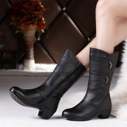 DONGNANFENG Women's Mother Female woman Ladies Shoes Boots Botas Heels Knee High Bling Black Zipper Winter Autumn Warm Plush Fur Cow Genuine Leather Mid Calf Round Toe Casual Designers Plus Size 35-43 JFML-5222
