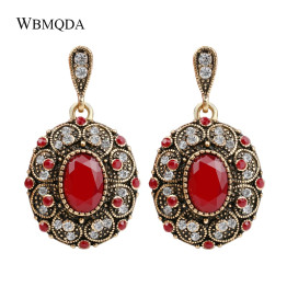 Fashion Bohemian Earring Unique Big Gold Color Crystal Earrings For Women Indian Jewery Vintage Red Wedding Accessories