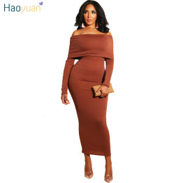 HAOYUAN Sexy Bodycon Dress Women Clothes 2019 Fall Winter Wrap Dress Off The Shoulder Black Long Sleeve Knitted Party Dresses