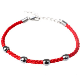 Hot Fashion Women Men Ethnic Delicate Rope Chain Alloy Beads Bracelets Trendy Red Black Jewery Gift