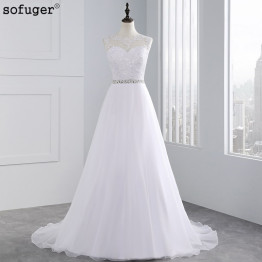 Long Cheap A Line Lace Beach Wedding Dress 2018 White Tulle Beading Organza Vestido De Noiva Appliques Plus Size Bride dresses