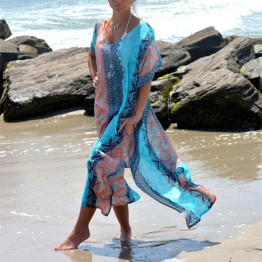 Long Printed Chiffon Bikini Cover Up Women Bikini Cover Up Swimwear Women Robe De Plage Cardigan Beach Blanket Swimsuit Ups