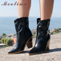 Meotina Brand Women Boots Winter Mid-calf Boots Strange Style High Heel Western Boots Pointed Toe Shoes Ladies Autumn Size 33-46