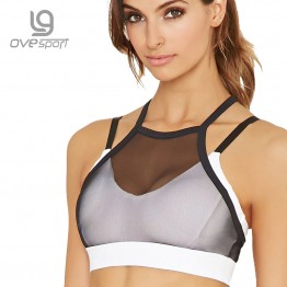 Ovesport Mesh Women Sport Bras Running Yoga Bra Padded Top Fitness Activewear For Women Workout Sports Bras Shockproof Vest
