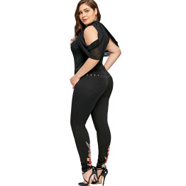 Plus Size 5XL Floral Embroidery Rivet Pencil Pant Women Summer Clothing Sexy Embroidered Skinny Trousers Large Size Pants 2018