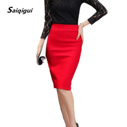 Saiqigui  Summer Autumn women skirts plus size high waist work slim feminine pencil skirt open fork sexy office lady skirts