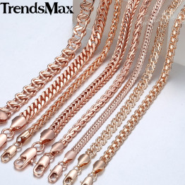 Trendsmax Necklace for Women Men 585 Rose Gold Curb Snail Foxtail Link Chain Gold Necklace 2018 Fashion Jewelry 50cm 60cm GNN1