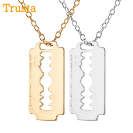 "Trusta 2017 New Man/Women Fashion Jewelry bright Gold Silver Style  Blade Pendant 18"" Short Necklace Girl Boyfriend Gift  EF96"
