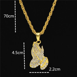 Uodesign The Praying Hands Pendants & Necklaces Brother Gift Gold Color Crystal Alloy Hip Hop Men Chain Jewelry