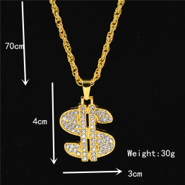 Uodesign US Dollar Money Necklace & Pendant Alloy Gold Color Chain For Women/Men Rhinestone Hip Hop Bling Men Jewelry