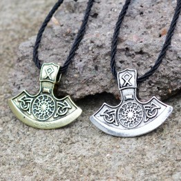 Vintage Sunflower Ax Pendant Necklace Fashion Viking Ancient silver gold Slavic Amulet Men Necklace Symbol Pagan Jewelry Gift